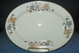 "Made In China #CX149 Blue Tan Leaves & Berries Oval Platter 12 1/4"" - $6.92"