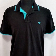 American Eagle Mens Lg Black Turquoise Tipped Pique Polo Shirt Golf Shor... - $575,36 MXN
