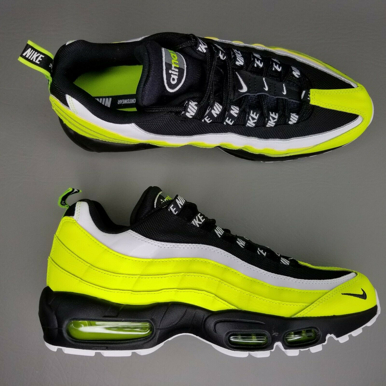 Nike Air Max 95 PRM Athletic Shoes Mens Size 9.5 Leather Volt Glow Black White