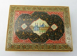 Antique Oriental Marquetry Mosaic Hand Painted décor jewelry trinket box - $89.00