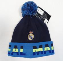 Real Madrid Blue Knit Beanie Skull Cap with Pom Pom Mens One Size NWT - $22.27