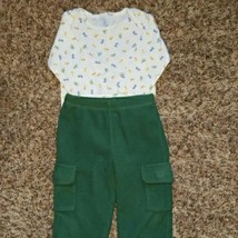 Boy's Size 6 M 3-6 Months Two Piece White Carter's Zoo Animal L/S Top & ... - $15.50