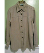 Joanna Stretch Size Small Womens Shirt Polyester Spandex Tan Button Up - $19.68