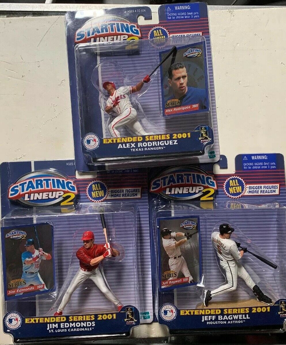 Primary image for 3 Starting Lineup 2 2001 Extended Series Figures Rodriguez Edmonds Bagwell