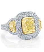 GIA Certified 3.15 TCW Yellow Cushion Cut Half Moon Diamond Engagement R... - $10,295.01