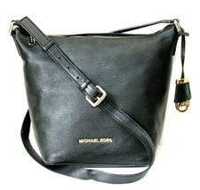 Michael Kors Bedford Black Pebbled Leather Messenger Handbag - $66.01