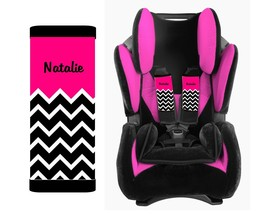 PERSONALIZED BABY TODDLER CAR SEAT STRAP COVERS HOT PINK TOP BLACK CHEVRON - $13.21