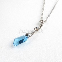 Choker Necklace Blue Swarovski Element White Gold Plated 39+5 cm UK - $22.38