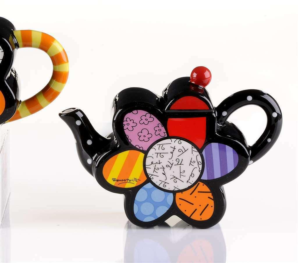 Romero Britto Mini Teapot Flower #331821 Rare Retired Collectible Gift