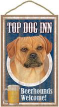 "Top Dog Inn Beerhounds Puggle Bar Sign Plaque dog 10""x16""   - $21.95"