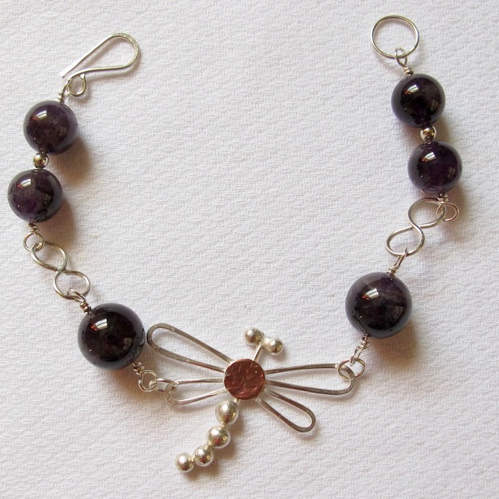 Sterling Silver Dragonfly Bracelet with Amethyst beads