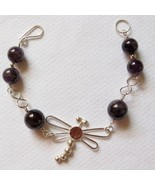 Sterling Silver Dragonfly Bracelet with Amethyst beads - $45.00