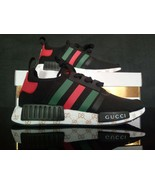 custom womens adidas running nmd  gucci sneakers black color athletic shoes - $109.00