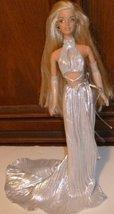 CE sexy BARBIE blonde Doll wearing fancy silver halter top & long pleate... - $49.99