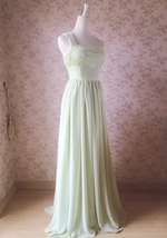 Sage Green One Shoulder Maxi Formal Dress A-line Chiffon Sage Green Prom Dress image 2