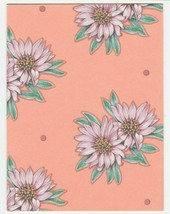 Vintage Gift Enclosure Card Pink Gerbera Daisies Peach Background Unused... - $6.92