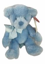 "Russ Berrie Teddy Bear Rory Blue 8"" Plush Rattle B236 - $11.90"