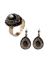 3Pcs Women's Earring Ring Set Sweet Retro Style Accessory - $11.99