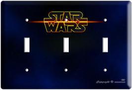 Star Wars Logo Emblem Triple Light Switch Cover Plate Geek Room Art Decoration - $15.29