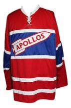 Custom Name # Houston Apollos Retro Hockey Jersey New Red Any Size image 3
