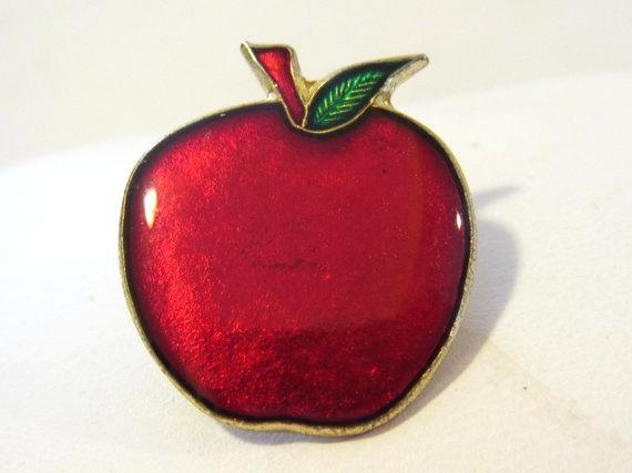 Vintage jewelry Apple enamel pin
