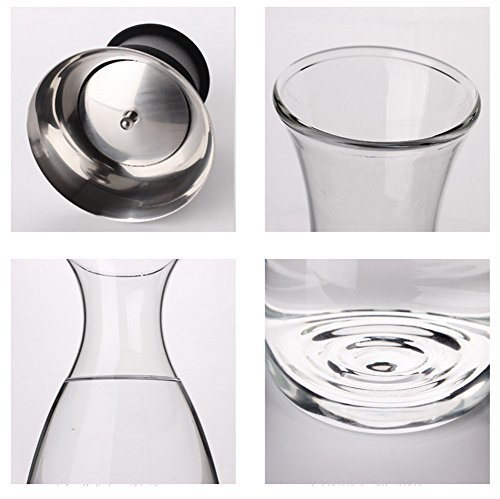 Artcome 55 Oz Heat Resistant Borosilicate Water Carafe Glass Pitcher with Stainl