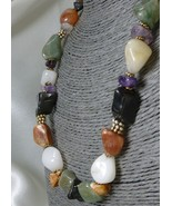 "Multi-Colored Gemstone Beaded Necklace Peach, White, Black, Green, 18"" - $32.00"