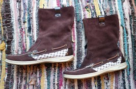 Women's Sperry Top Sider Suede Stitched Brown Pull On Boots Size 8 - $27.77