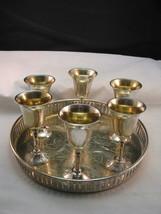 Silverplate Cordials w 6 Glasses & Small Round Chic Tray c1970 Shabby Vi... - $24.75