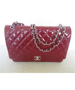 Authentic Chanel Red Patent Classic Quilted Maxi Flap Bag - $4,500.00