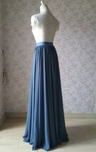Women DUSTY BLUE Chiffon Maxi Skirt High Waist Maxi Chiffon Wedding Skirt image 6