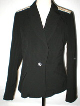 NWT $178 Womens 10 Cache Black Jacket Blazer Metal Accents Shoulder Silv... - $178.00