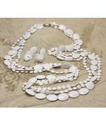 Vintage White Mod 60s Plastic Bead Necklace Strand Earrings Demi Set cir... - $24.73