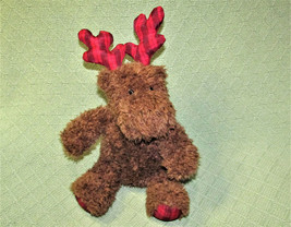 "11"" Bath Body Works Christmas Moose Reindeer Brown Plush Red Plaid Antlers Toy - $20.79"