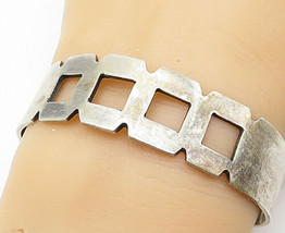 MEXICO 925 Silver - Vintage Cutout Square Design Smooth Cuff Bracelet - ... - $102.72