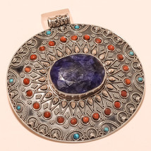 Gigantic Sterling Silver African Sapphire Gemstone Ethnic Tribal Pendant Jewelry - $187.01