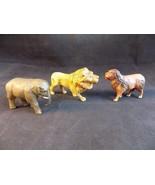Set of 3 Vintage CELLULOID HOLLOW PLASTIC TOY ANIMALS Dog, Lion Elephant - $13.85