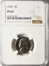 1952 5c Jefferson Proof Nickel Five Cents Rare NGC PF67 Gem Uncirculated - $43.29
