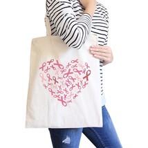 Pink Ribbon Heart Natural Canvas Bags - $14.99