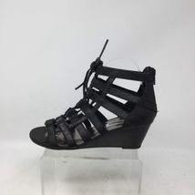 Zip Women's Back Steve Us Leather Madden Black Sz Wedge 6M Sandals Strappy Heel RzqHqxF