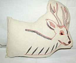 Decorative DEER Shaped Embroidered Throw Accent Pillow Deer Stitched Design - $21.46