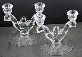 Set of 2, Orchid Etch No. 507, Double, Waverly Blank, Candlesticks, Heisey - $48.00