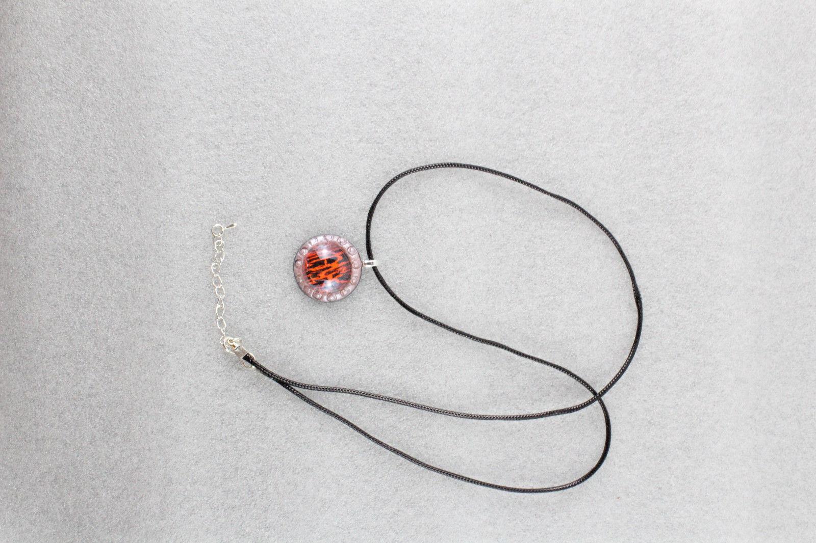 Elegant Handmade Cabochon & Premo Clay Pendant Necklace + Cord & Extension #015