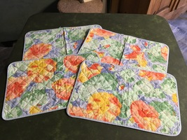 1990s IKEA Blue Monet Style Pastel Quilted Cotton Placemats (set of 4) - $18.00