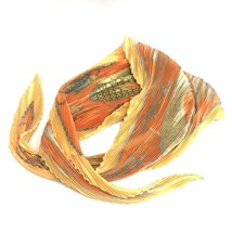 AUTHENTIC HERMES LES VOITURES A TRANSFORMATION Carre Pleated Scarf Orang... - $210.00