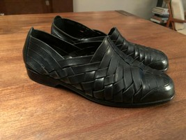 COLE HAAN Resort Woven Black Leather Slip On Summer Shoes Mens Size 7.5 - $47.50