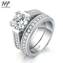 Luxury 2 Rounds Wedding Engagement Rings Set For Women Silver color Fash... - $8.21
