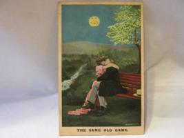 Antique Bamforth & Co. Published Postcard - Kissing Couple, Smiling Moon - $9.99