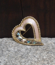 Trifari Rhinestone Heart Brooch, Pearly Pink Enamel, Rope Border, Trifar... - $50.00