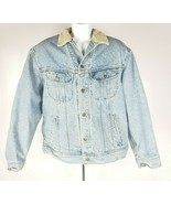 Vintage Lee Denim Jacket L Blanket-Lined Faded Blue Cotton Corduroy Coll... - $98.51